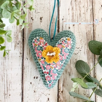 Hanging Liberty  Heart with Crochet  Flower -   Teal and Mustard