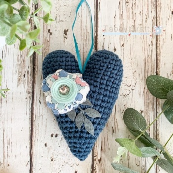 Hanging Liberty  Heart with Felt  Flower -   Petrol Blue