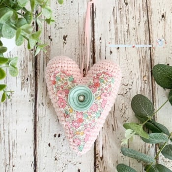 Hanging Liberty  Heart with Felt  Flower -   Pale Pink