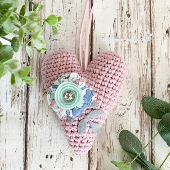 Hanging Liberty  Heart with Felt  Flower -   Medium Pink