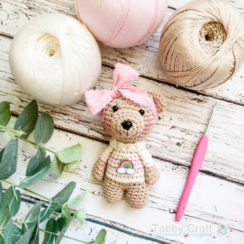 Little Bear with Rainbow Jumper and Large Bow     -  Pink and Brown