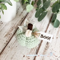 Small Halloween Boo Pumpkin  - Mint with Mint Flowers