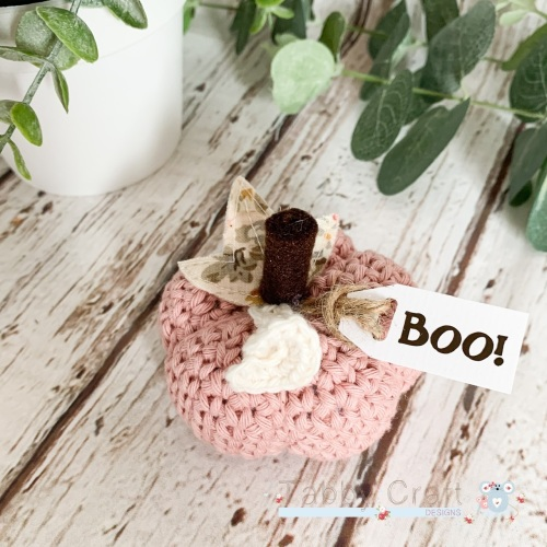 Small Halloween Boo Pumpkin  - Dusky Pink with Pink Flowers