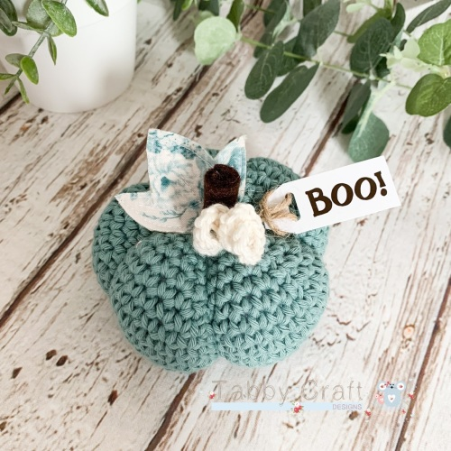 Large Halloween Boo Pumpkin  - Teal with Teal Flowers