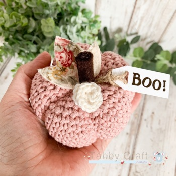 Large Halloween Boo Pumpkin  - Dusky Pink with Pink Flowers