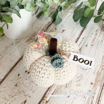 Large Halloween Boo Pumpkin  - Cream with Teal Flowers
