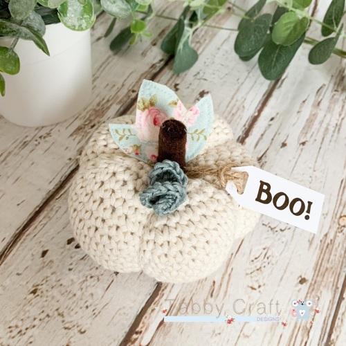 Large Halloween Boo Pumpkin  - Cream with Aqua Flowers