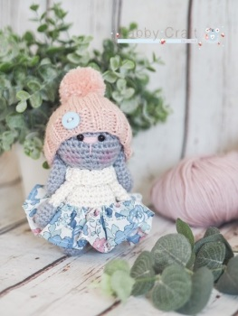 Liberty Bunny with Woolly Hat and Skirt  - Grey, Cream and Pink