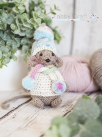 Standing Mouse with  Hat and Scarf   - Brown and Pink Multi