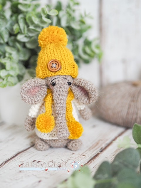Standing Elephant with Hat and Pom Pom Scarf   -  Light Brown and Mustard