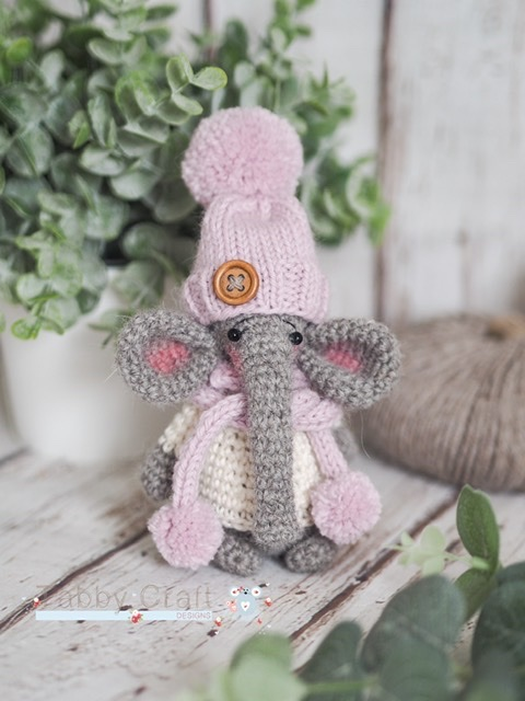 Standing Elephant with Hat and Pom Pom Scarf   -  Grey and Pink