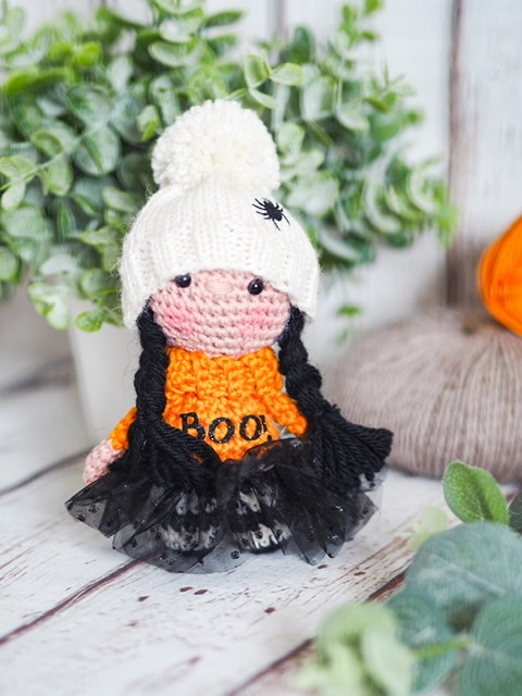 Halloween Girl with Spider Woolly Hat, Tutu and Boo Jumper!  - Black and Or
