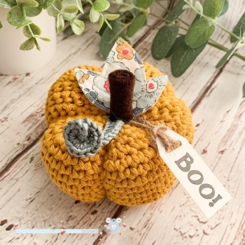 Large Liberty Halloween Boo Pumpkin  - Mustard and Multi Flowers