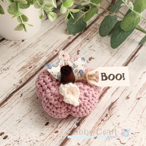 Small Liberty Halloween Boo Pumpkin  - Lilac Pink with Blue Flowers