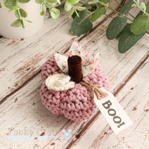 Small  Halloween Boo Pumpkin  - Lilac Pink with Multi Flowers