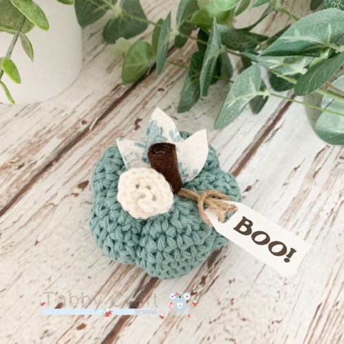 Small  Halloween Boo Pumpkin  - Teal with Cream Flowers
