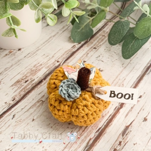 Mini Liberty Halloween Boo Pumpkin  - Mustard with Multi Flowers