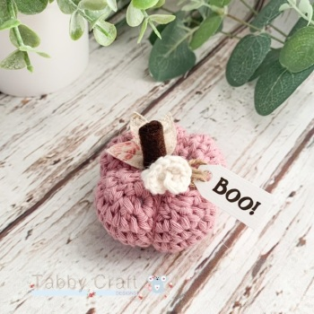 Mini Halloween Boo Pumpkin  - Dusky Pink with Pink  Flowers
