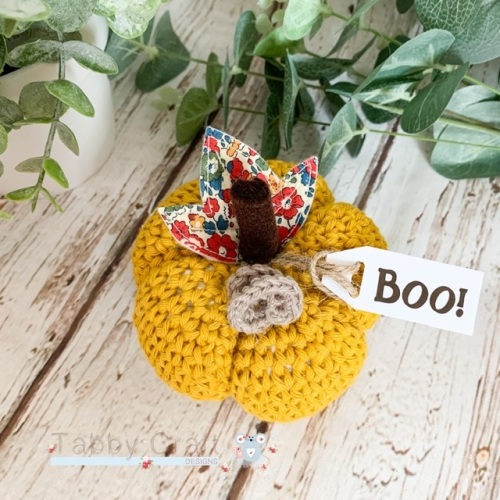 Large Liberty Halloween Boo Pumpkin  - Mustard and Red Flowers