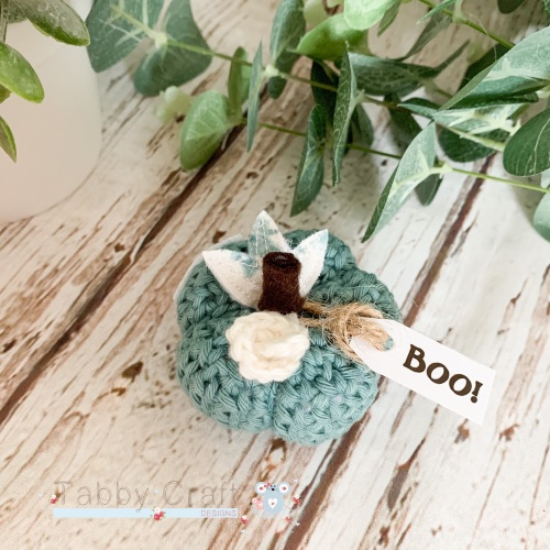 Mini Halloween Boo Pumpkin  - Teal with Teal Flowers