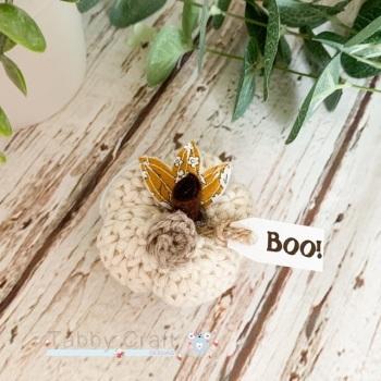 Mini Halloween Boo Pumpkin  - Cream and Mustard Flowers