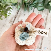 Mini Halloween Boo Pumpkin  - Cream and Teal Flowers