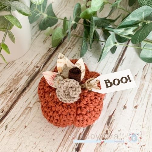 Small  Halloween Boo Pumpkin  - Rust and Pink Flowers