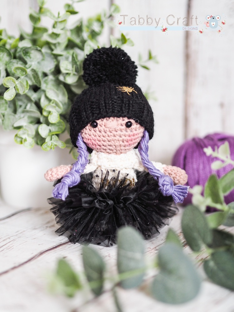 Halloween Girl with Spider Woolly Hat, Tutu and Boo Jumper  - Black and Pur