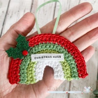 Pre-Order Hanging Mini Rainbow Decoration with Sentiment - Red, Green and White