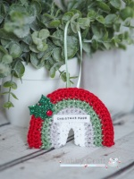 Hanging Mini Rainbow Decoration with Christmas Hugs Sentiment -  Red, Green, Silver and  White