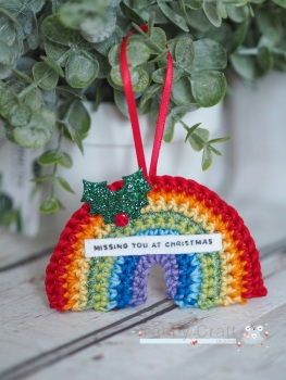 Hanging Mini Rainbow Decoration with Missing You At Christmas Sentiment  - Bright