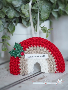 Hanging Mini Rainbow Decoration with Christmas Hugs Sentiment   -  Red, Gold and Ivory