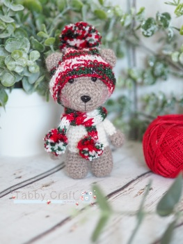 Little Bear with Christmas Woolly Hat and Scarf     -  Multi and Brown