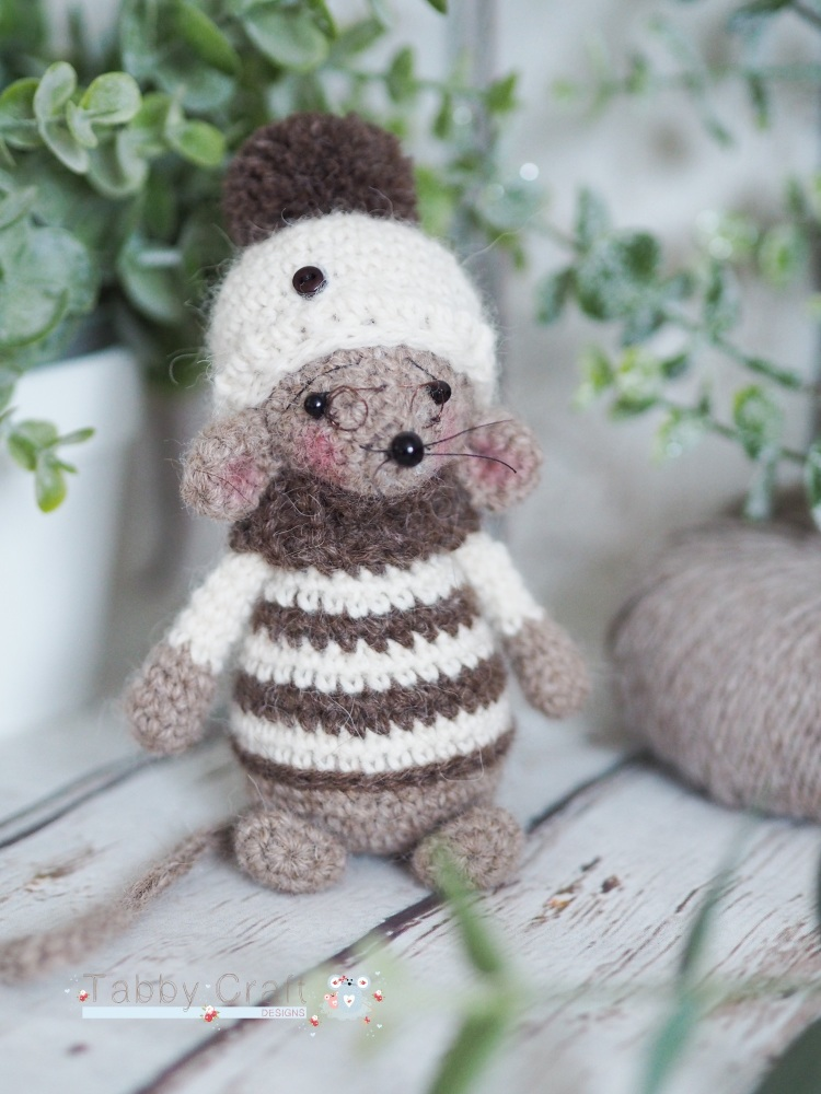 Standing Mouse with Woolly Hat, Striped Jumper and Glasses   - Brown and Iv