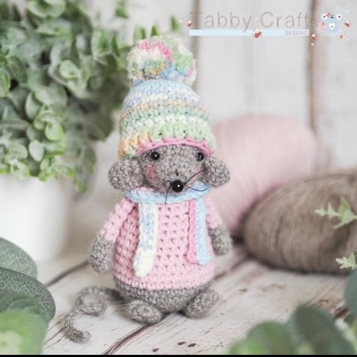 Standing Mouse with Woolly Hat, Jumper and Scarf   - Brown and Pink Multi