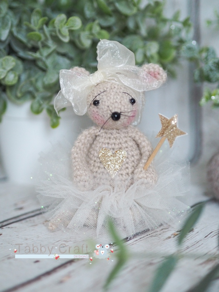 Standing Fairy Mouse with Sparkly Tutu and Wand   - Ivory and Gold