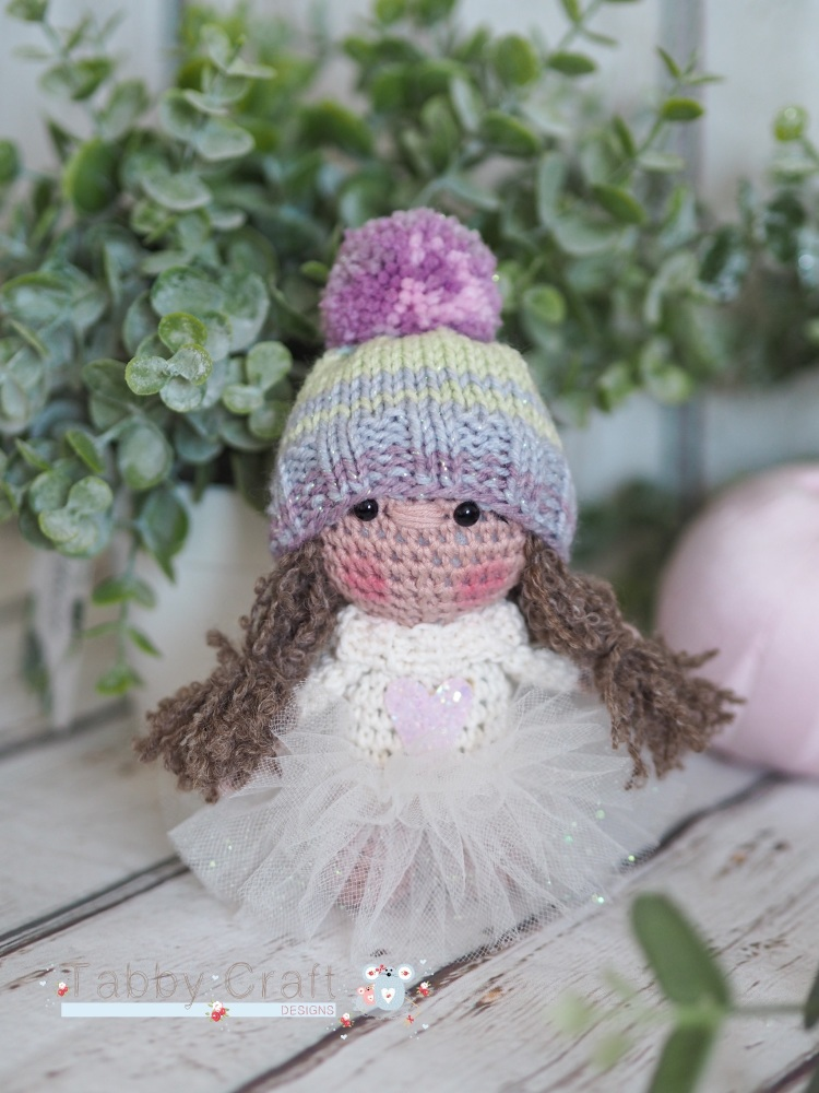 Winter Girl with Woolly Hat, Tutu and Heart Jumper  - Ivory, Pink and Lilac