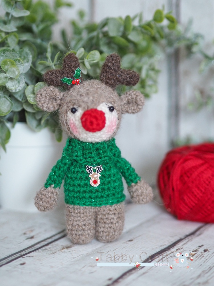 Christmas Reindeer with Rudolph Jumper - Green