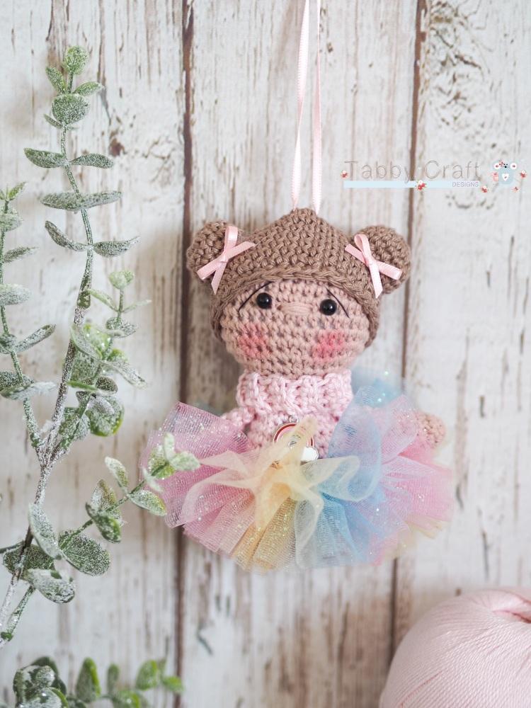 Hanging Rainbow Girl with Rainbow Tutu - Brown Hair