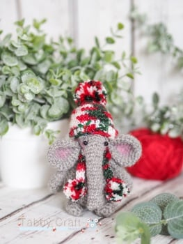 Standing Elephant with Christmas Hat and Pom Pom Scarf   -  Grey and Multi