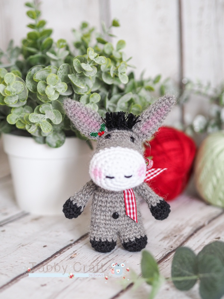 Christmas Donkey  - Grey and Red
