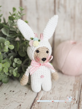 Little Hanging Bear Dressed as a Bunny  -  White and Tan