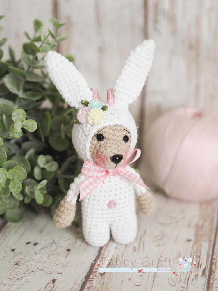 Little Bear Dressed as a Bunny  -  White and Tan