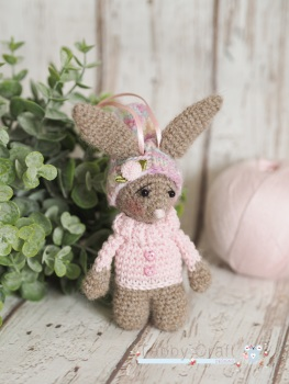 Little Hanging Bunny With Pom Pom Hat  -  Brown and Pink