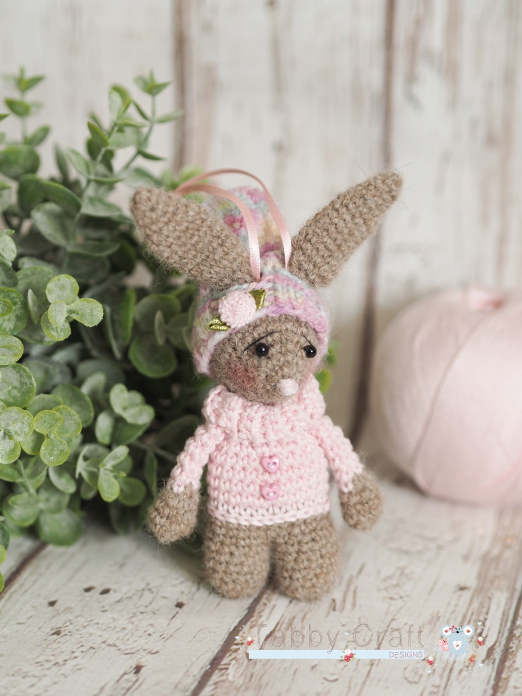 Little Bunny With Pom Pom Hat  -  Brown and Pink