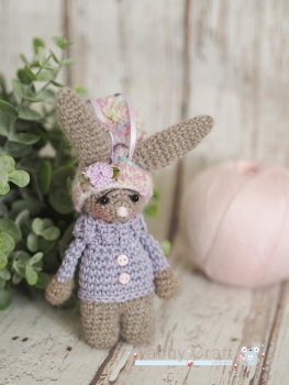 Little Hanging Bunny With Pom Pom Hat  -  Brown and Lilac