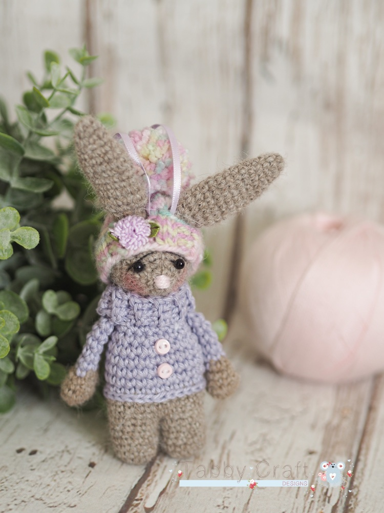 Little Bunny With Pom Pom Hat  -  Brown and Lilac