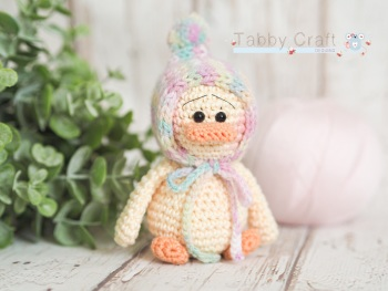 Small Dinky Duck with Pom Pom Bonnet - Lemon and  Pink