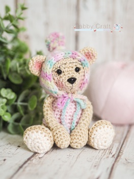 Tiny Teddy with Pom Pom Bonnet - Beige and  Pink