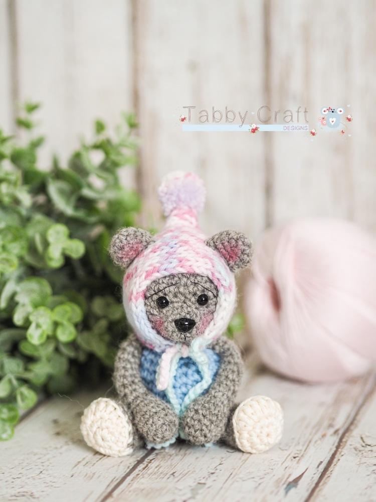 Tiny Teddy with Pom Pom Bonnet - Beige and  Pink